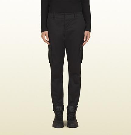 Gucci Women's Black Stretch Light Cotton Cavalry Multi-Pocket Cargo Pant From Viaggio Collection