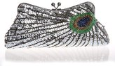 TopTie Shimmering Sequined and Beaded Peacock Clutch