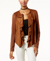 INC International Concepts Ruffled Faux-Suede Cardigan, Only at Macy's