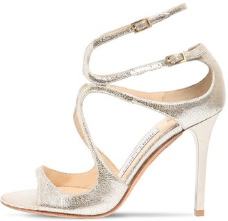 Jimmy Choo 100mm Lang Metallic Leather Sandals