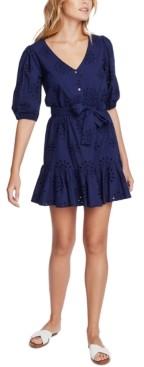 1 STATE Eyelet-Embroidered Ruffled-Hem Mini Dress