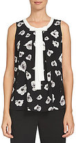 CeCe Sleeveless Floating Flower Bells Bow Front Shell
