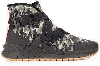 Balmain Camouflage Print High-Top Sneakers