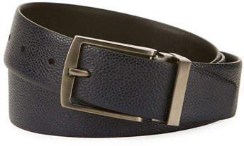 Giorgio Armani Grained Calf Leather Belt, Navy