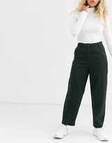 Weekday Tami tapered pant in dark green