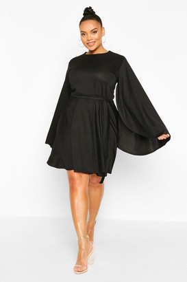 boohoo Plus Split Sleeve Skater Dress