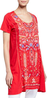 Johnny Was Plus Size Frederique Embroidered Short-Sleeve Panel Knit Mix Tunic