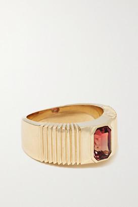 Retrouvaí Pleated Solitaire 14-karat Gold Garnet Ring