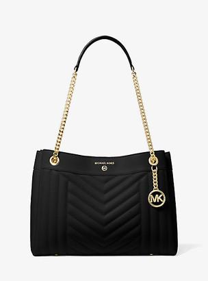 MICHAEL Michael Kors MK Susan Medium Quilted Leather Shoulder Bag - Black - Michael Kors