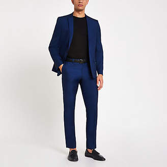 River Island Bright blue skinny fit suit trousers