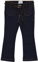 Mayoral Belted Boot-Cut Jeans, Super Dark Denim, Size 3-6