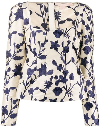 Brock Collection Floral-Embroidered Top