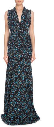 Altuzarra V-Neck Sleeveless Vine-Print Long Evening Gown w/ Ruffled Trim