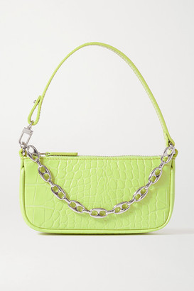 BY FAR Rachel Mini Croc-effect Leather Shoulder Bag - Lime green