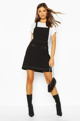 boohoo Contrast Stitch Pocket Pinafore Dress