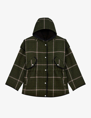 Maje Gangzam checked faux shearling-lined wool-blend coat