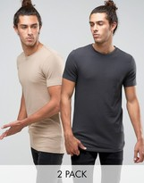 Asos 2 Pack Longline Muscle T-Shirt In Washed Black/Beige