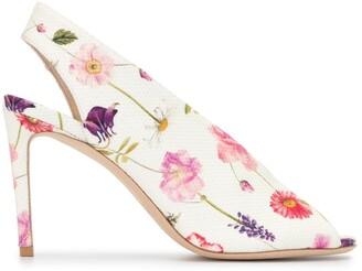 Luisa Beccaria Floral Printed Stiletto Pumps