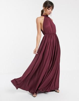 Asos Design DESIGN halter pleated waisted maxi dress-Purple