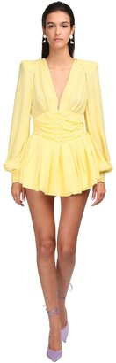 ATTICO Georgette Mini Dress W/Puff Sleeves