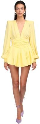 ATTICO The Georgette Mini Dress W/puff Sleeves