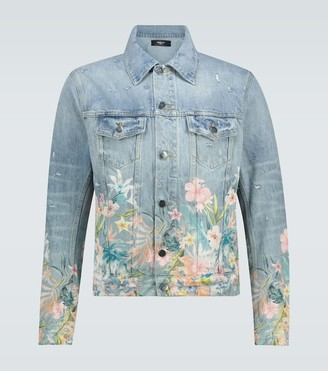 Amiri Floral Leaf printed denim jacket