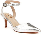 Louise et Cie Esperance Metallic Leather Ankle-Strap Pointed-Toe Pumps