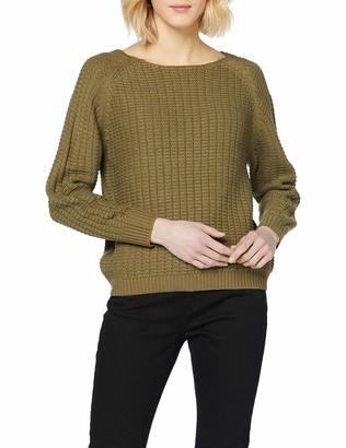 Dorothy Perkins Women's Khaki Textured Wide Neck Jumper Pullover Sweater LGE