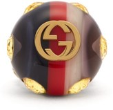Gucci Crystal-encrusted Gg Logo Ring - Womens - Blue