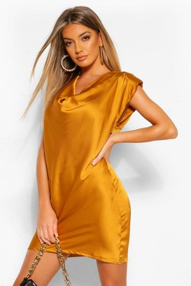 boohoo Satin Cowl Shoulder Pad Shift Dress