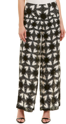 Anna Sui Chasing Hearts Silk-Blend Pant