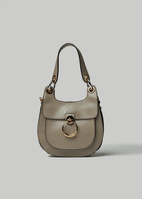 Chloé Women's Small Saddle Bag in Motty Grey Leather/Cotton Lining