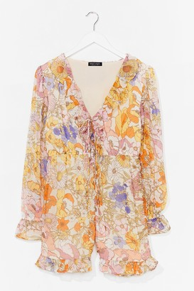 Nasty Gal Womens Get Growing Floral Ruffle playsuit - Yellow - S