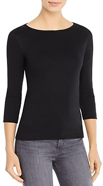 Three Dots Three-Quarter-Sleeve Cotton Tee