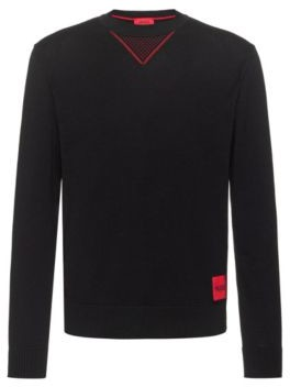 HUGO BOSS Cotton Oversized Fit Sweater With Contrast Elements - Dark Blue