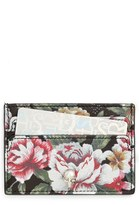 Alexander McQueen Women's Floral Print Leather Card Holder - Black