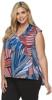 Dana Buchman Plus Size Knotted V-Neck Top
