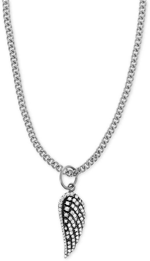 """King Baby Studio Women Pave Wing 18"""" Pendant Necklace in Sterling Silver"""