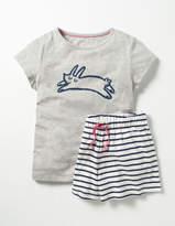 Shortie Pyjama Set Grey Marl Bunny Girls Boden