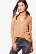 Boohoo Martha Soft Rib Knit Choker Jumper