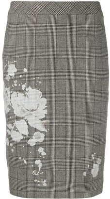 Boutique Moschino Checked Floral Print Skirt