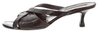 Manolo Blahnik Alligator Crossover Sandals