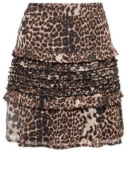 Dorothy Perkins Womens Multi Colour Leopard Print Ruffle Mini Skirt