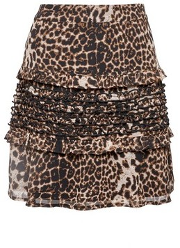 Dorothy Perkins Womens Multi Colour Leopard Print Ruffle Mini Skirt