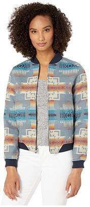 Pendleton Wool Bomber Jacket (Slate Blue Chief Joseph) Women's Clothing