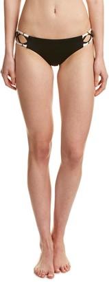 Dolce Vita Women's Solid Bikini Bottom with Beaded Side