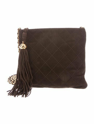 Chanel Quilted Suede Crossbody Bag gold