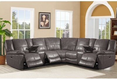 Wondrous Leather Reclining Sectional Shopstyle Pabps2019 Chair Design Images Pabps2019Com