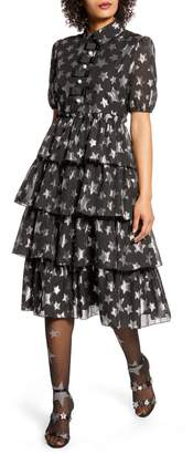 Halogen x Atlantic-Pacific Metallic Star Chiffon Dress