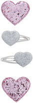 Accessorize 4x Glitter Heart Click Clacks